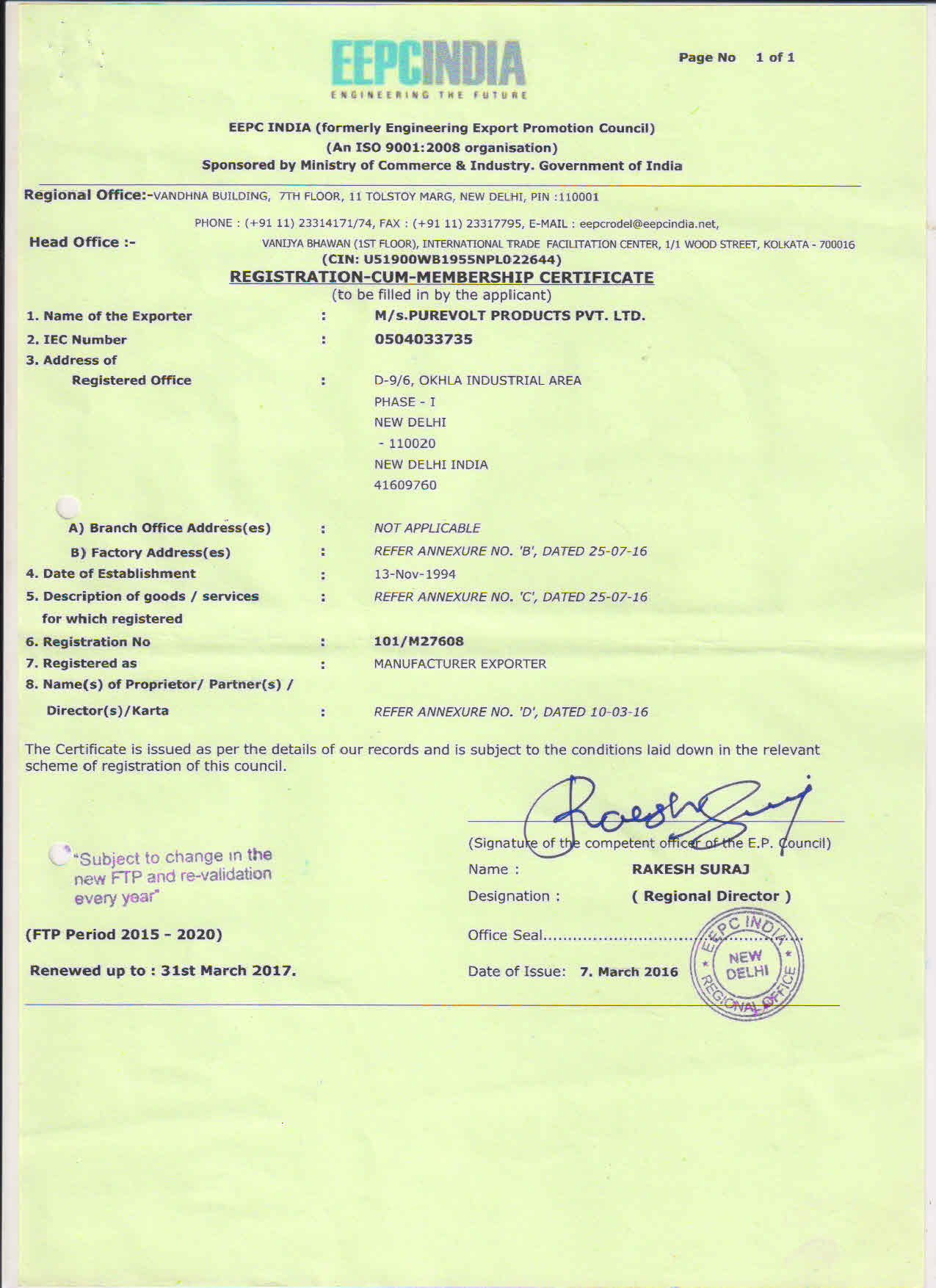 Purevolt Is An Iso 9001 Certified Manufacturer And